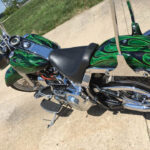 Custom Motorcycle Paint Job with Green Flames in Columbia, MO